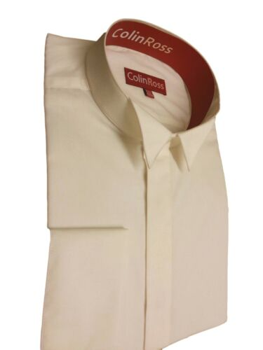IVORY Classic Wing Collar Dress Shirt Double Cuff Wedding//Evening 14.5-23 NWT