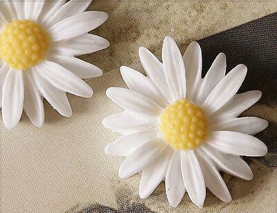 4x Resin Cabochons Blumen zum Kleben 26mm weiss tm231