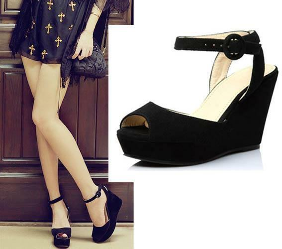 Fashion Women Genuine Suede Opened toe Wedge Platform Heeled Sandals Shoes