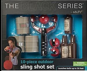 10 Piece Outdoor Sling Shot Set The Black Series Shoots Balls Up To 50' New