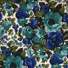 Vtg 50s 60s Bloomcraft Aqua Blue Green MCM Floral Dupon Zepel Decorator Fabric
