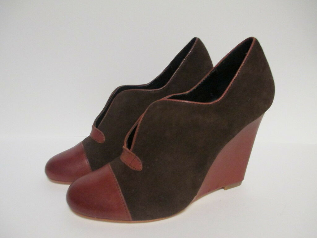 Plenty Plenty Plenty by Tracy Reese Nadine Wedge Heel shoestie 8.5 M Coffee  New Floor Sample 1c00ef