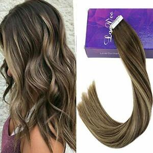 Details about 50g Tape in Human Hair Extensions Balayage Ombre Brown Root  to Ash Blonde Color