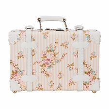 "CO-Z 12"" Waterproof PU Leather Vintage Luggage Small Suitcase Floral Decorative"