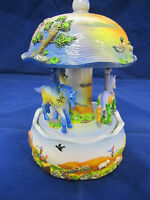 Hand Painted Wind Up Musical Carousel 6.5