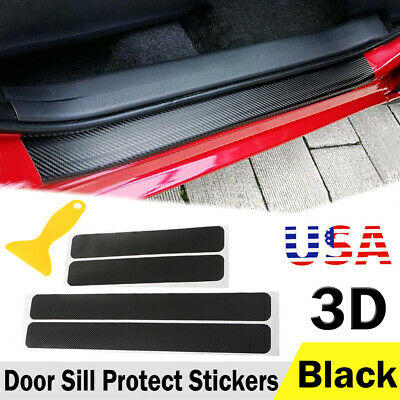 ramuel Car Door Sill Protector Welcome Pedal Protect Universasl 3D Carbon Fiber Scuff Protective Door Sill Cover Panel Sticker 4PCS