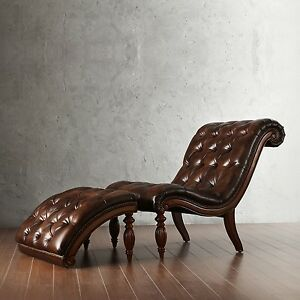 Image Is Loading Leather Chaise Lounge Chair Ottoman Bonded Tufted Brown