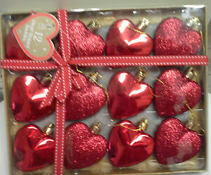 12 heart shaped glitter christmas tree baubles ornaments decorations