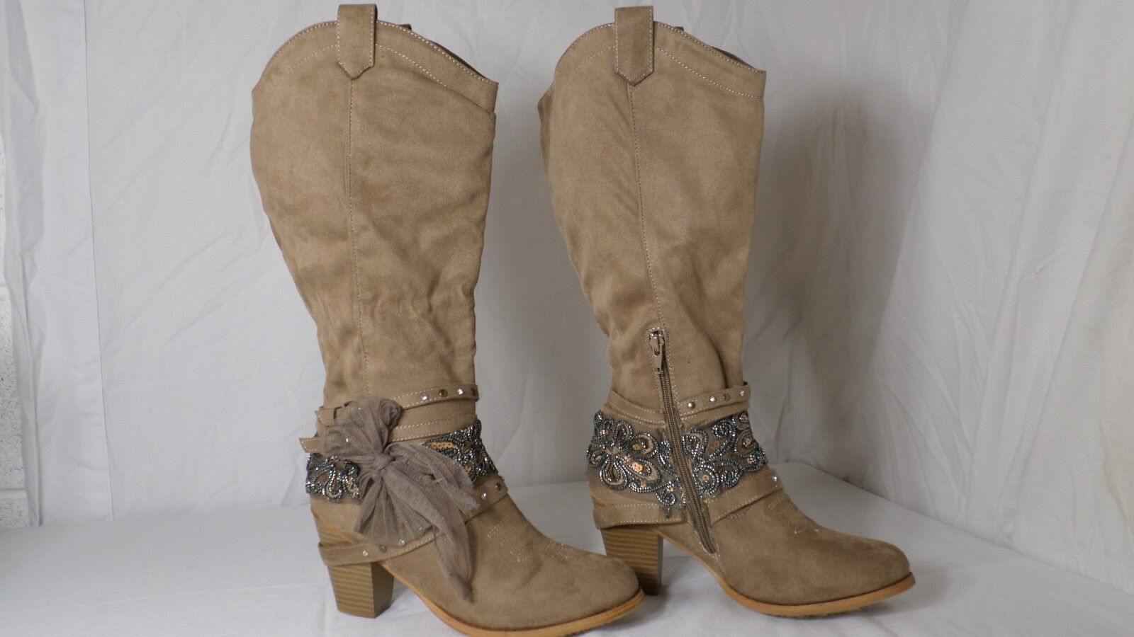 Pierre Dumas 'Denny-9' Taupe Faux Suede Western Knee High Boot Women Size 9 M