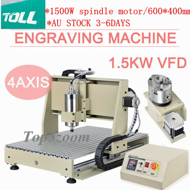 USB 4Axis DESKTOP CNC 6040 Router Engraver Engraving Drill Carving Machine 1.5KW