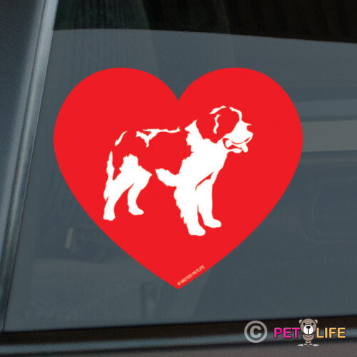 V2 Heart Puppy Dog St Love Saint Bernard Sticker Die Cut Vinyl