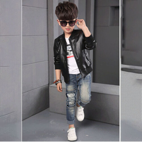 Cool Boys Coats Faux Leather Jackets Childrens Outerwear Jacket Brown Black Top