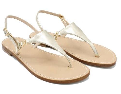 Sandali da Donna Artigianali in cuoio infradito bassi Capri Positano capresi Oro