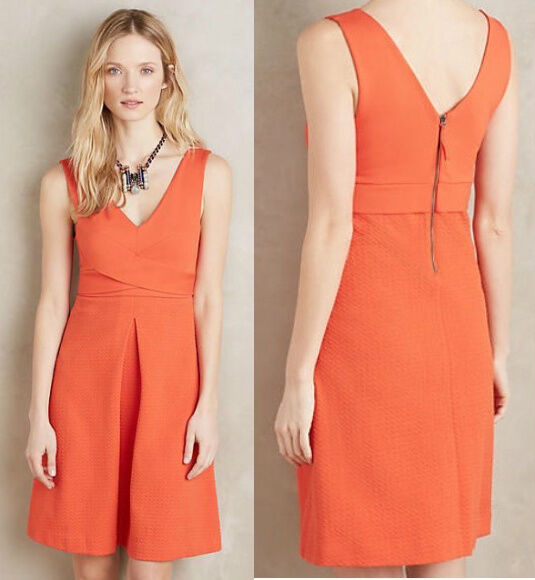ANTHROPOLOGIE NWT Ardmore Dress by HD in Paris Knit Red orange Sz 4 Small