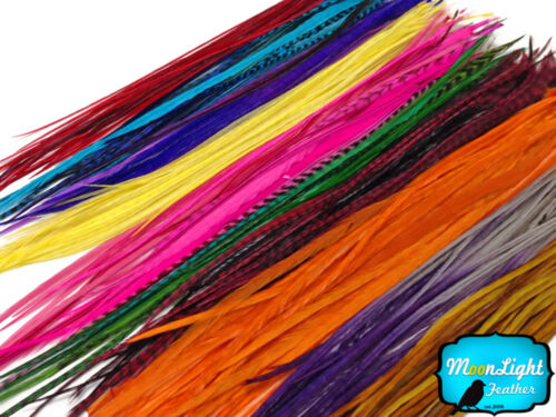 Wholesale Colorful Thin Long Rooster Hair Extension Feathers 100 Pieces bulk
