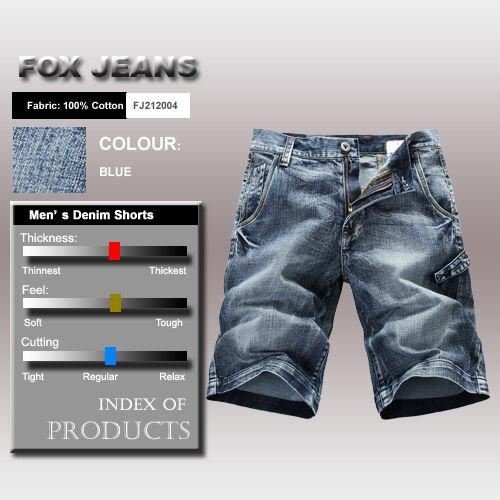 FOX JEANS Men/'s Allen Standard Fit Blue Denim Mens Jeans Shorts SIZE 44