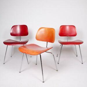 Image is loading Eames-Evans-Herman-Miller-1940-039-s-DCM- & Eames Evans Herman Miller 1940u0027s DCM Dining Chairs Red Aniline Dye ...