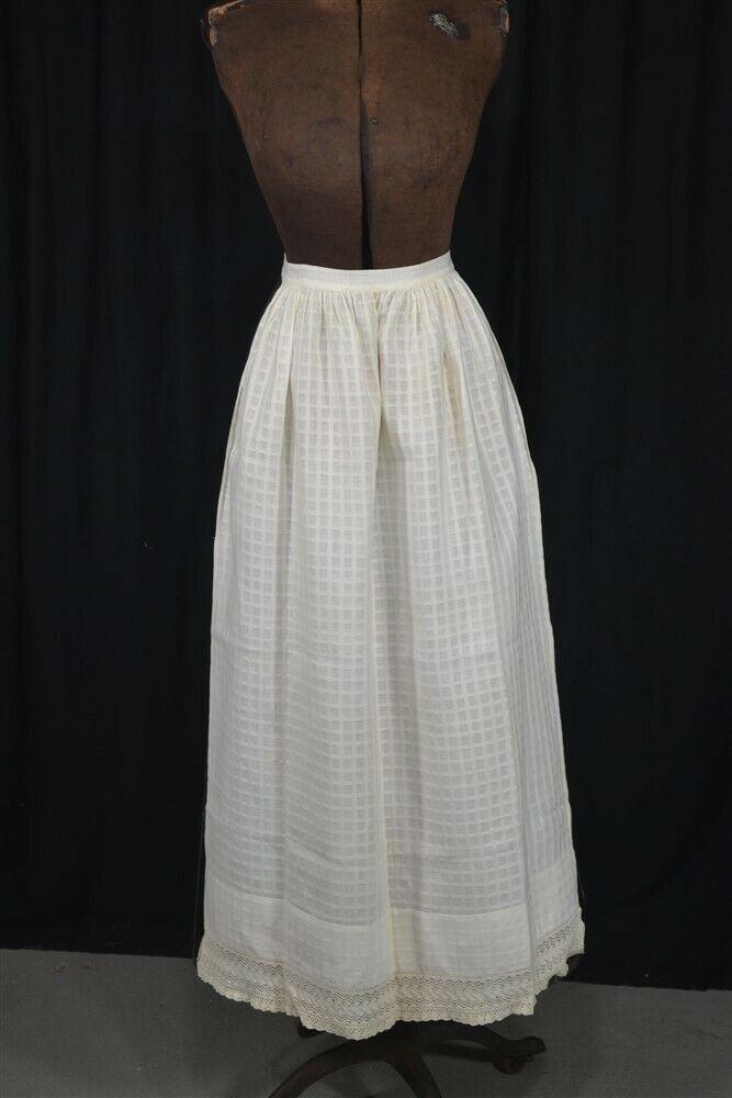 early apron long half lace white cotton hand made civil war Ear 19th c original