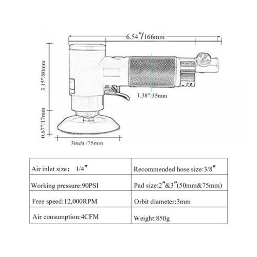 10Pcs 2/'/' 3/'/'Mini Orbital Air Sander Kit Auto Body Work with Sponge Buffing Set