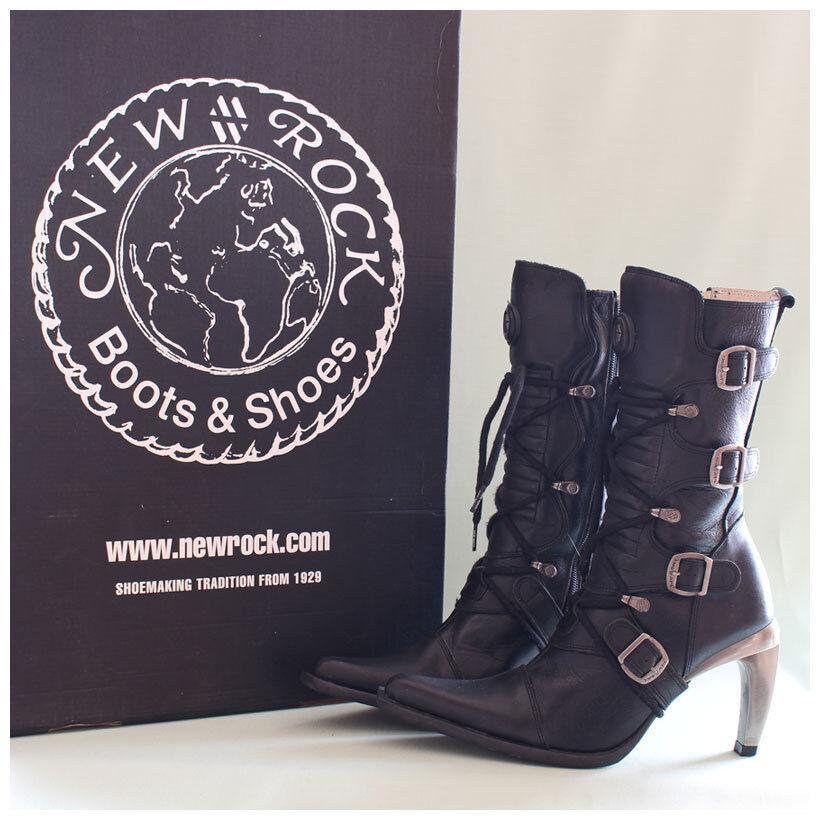 New Rock Stiefel Gr. 37 Malicia Stiefeletten schwarz mit Schnallen ( 2251)