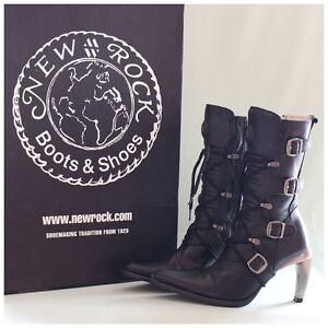 New Rock Stiefel Gr. 37 Malicia Stiefeletten schwarz mit Schnallen (#2251)