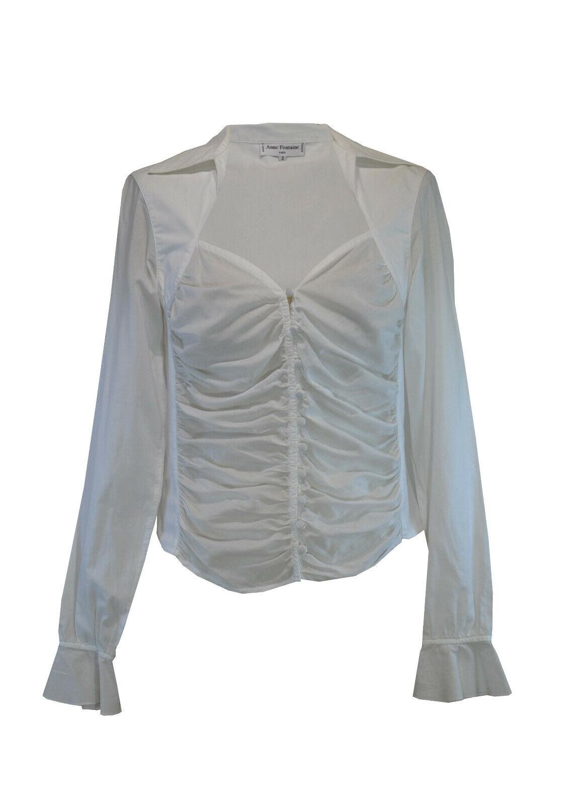 Anne Fontaine  Weiß Cotton Shirt  Größe 2   rotd Detail