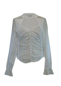 Anne-Fontaine-White-Cotton-Shirt-Size-2-Rouged-Detail