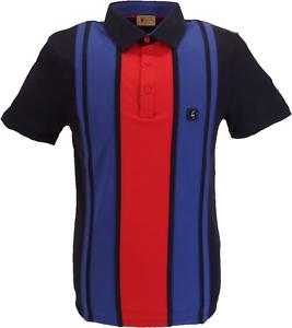Gabicci Vintage Homme Bleu marine//rouge à rayures rétro Polo Shirt