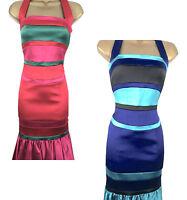 KAREN MILLEN Satin Halterneck Dress Pencil Fitted Frill hem UK Size 6 8 10 12 14