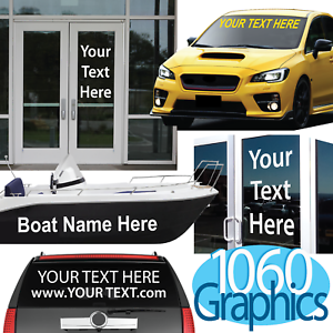 """10/"""" High by Up to 36/"""" Long Door Window Sign Decal CUSTOM VINYL LETTERING"""