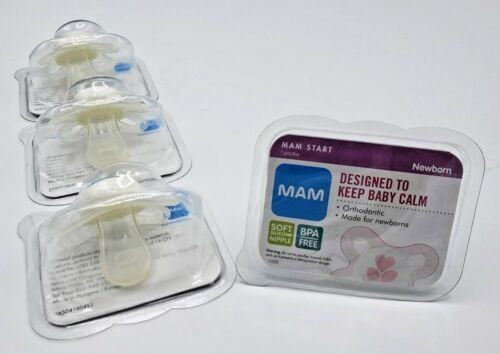 MAM Pacifiers for Newborn Soft Silicone Nipple BPA Free LOT of 4 BRAND NEW