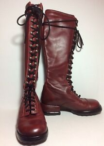 Mismatched-John-Fluevog-Skip-Rope-Tall-Combat-Boot-Red-Size-6-Left-Size-7-Right