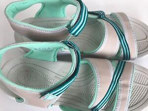 Ryka-Sport-Sandals-Women-039-s-US-10M-UK-8-EU-41-5-CM-27-Green-Beige-Adj-Straps-Flat