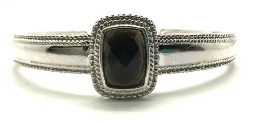 Sterling Silver facettes Noir Onyx Twisted Pointillée Chunky Cuff Bangle Bracelet