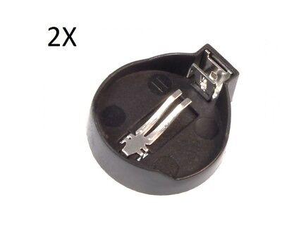 2X PORTABATTERIA BOTTONE CR1220 3V box case porta batterie pile attacco pila