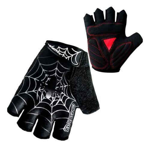 QEPAE Outdoor Half Finger Spider Web Anti-Slip Gel Cycling Driving Hiking Gloves