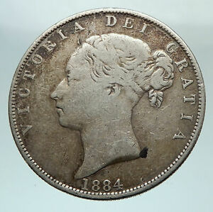 1884-UK-Great-Britain-United-Kingdom-QUEEN-VICTORIA-1-2-Crown-Silver-Coin-i80306
