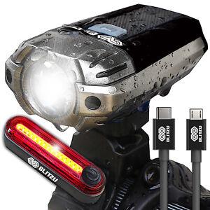 Blitzu Gator 390 USB Rechargeable Bike Head Light Set w/ Free Bicycle Tail Light