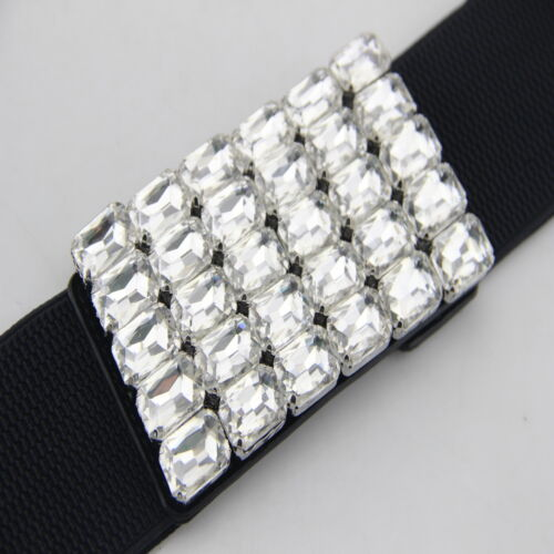 LADIES WOMENS BLACK STRETCH ELASTICATED WAIST BELT DIAMANTE BUCKLE 60mm Wide 748