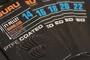 Korda-Guru-F1-Pellet-Sans-Ardillon-PTFE-Enduit-Crochets-Pack-De-10-Toutes-Tailles