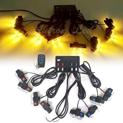 8In1 16W LED Strobe Warning Light Deck Dash Grill Remote Control Amber White 12V