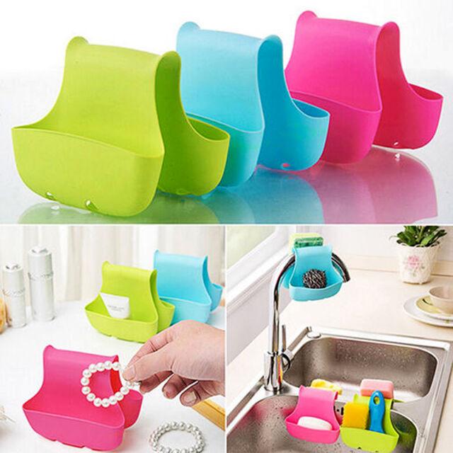 Kitchen Storage Sponge Plastic Sink Saddle Caddy Rack Holder Organizer
