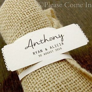 Personalized White/Kraft/Cream Napkin Ring Wedding Place Cards/Escort Cards