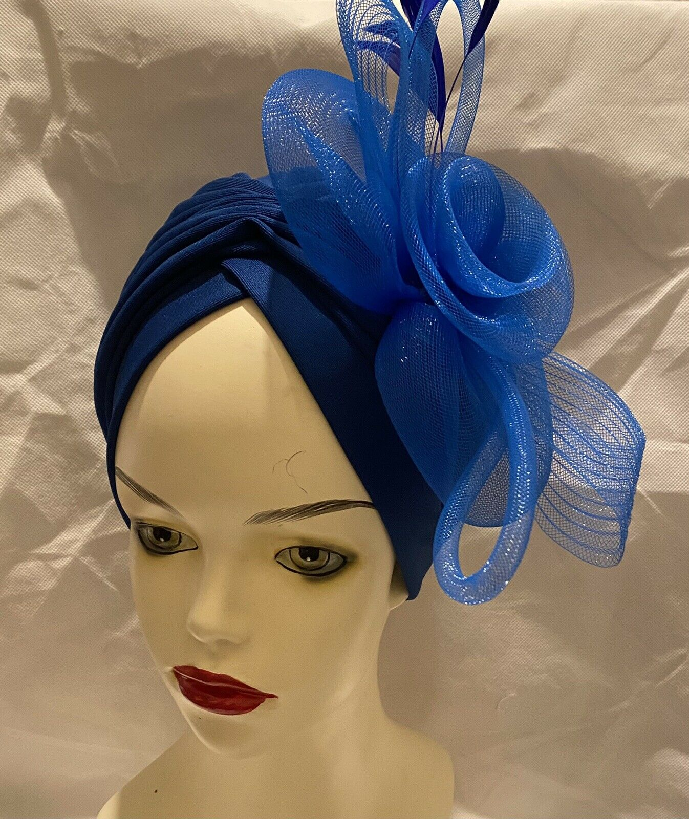 New Fashion Hats Womens Ruffle Turban Headwear With Big Poplin Flower