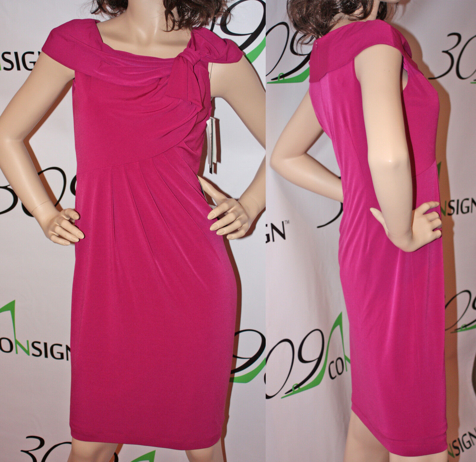 New DAVID MEISTER 2 XS  Rosa Pleated Jersey Stretch Evening Cocktail Dress