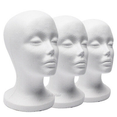 3 Pack Fashion Styrofoam Foam Head Mannequin Display Wig Hat Stand White Foams