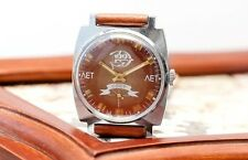 Vintage Red Brown Zim Pobeda Victory USSR Russian Soviet Mens Watch new strap