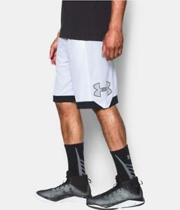NWT-Under-Armour-UA-Isolation-Men-s-Basketball-Shorts-White-Black-11-034-XL-M-S