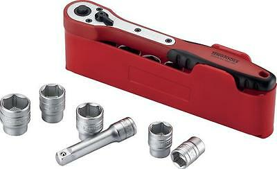 "Teng M3812N1 3/8"" Drive Ratchet & Socket Set 8 - 19mm in Plastic Tray 12 Piece"