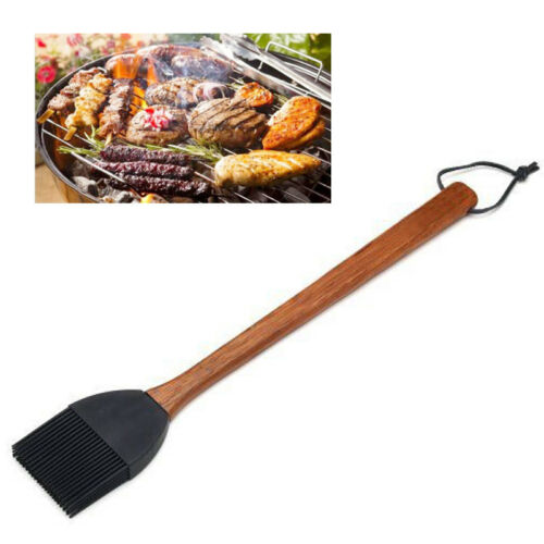 15/'/' Silicone BBQ Sauce Brushes Long Rosewood Handle Pastry Oil Basting Mop